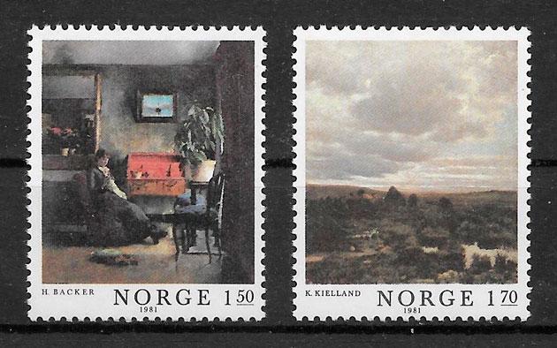 filatelia colección arte Noruega 1981