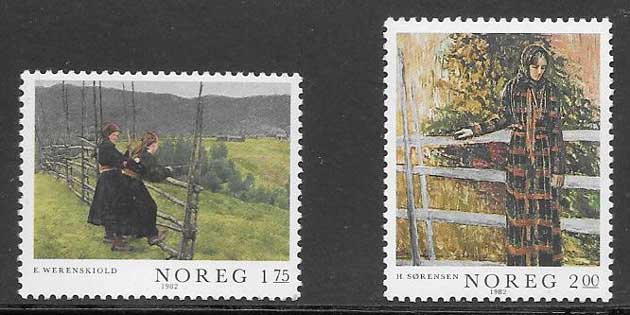 sellos pintura 1982 Noruega