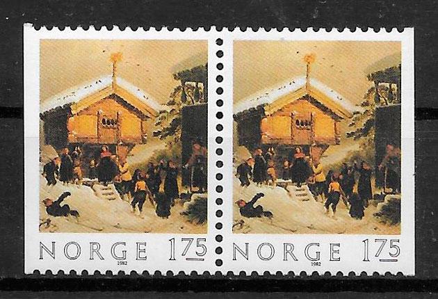 sellos navidad Noruega 1982