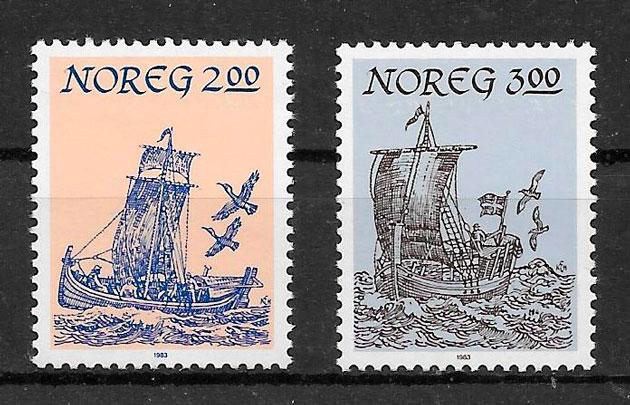 filatelia colección transporte Noruega 1983
