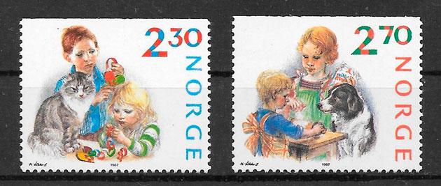 sellos navidad Noruega 1987