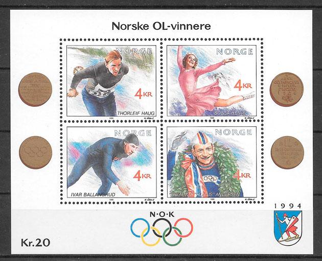 filatelia deporte Noruega 1990