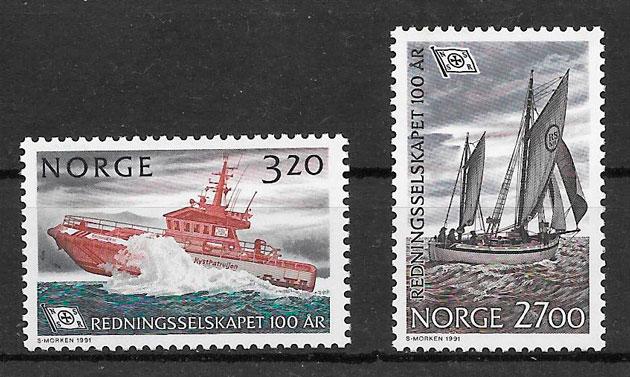 filatelia colección transporte Noruega 1991