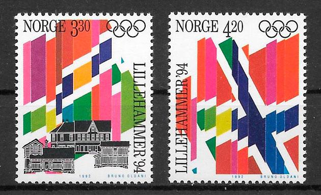 colección sellos deporte Noruega 1992