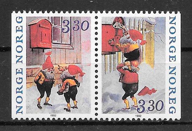 coleción sellos navidad Noruega 1992