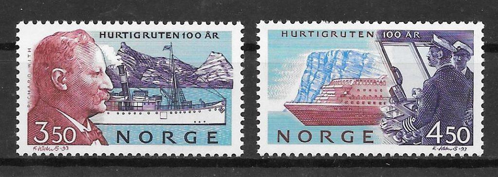 colección sellos transporte Noruega 1993