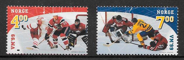 filatelia colección deporte Noruega 1999