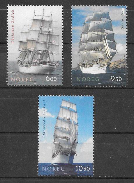 colección sellos transporte Noruega 2005