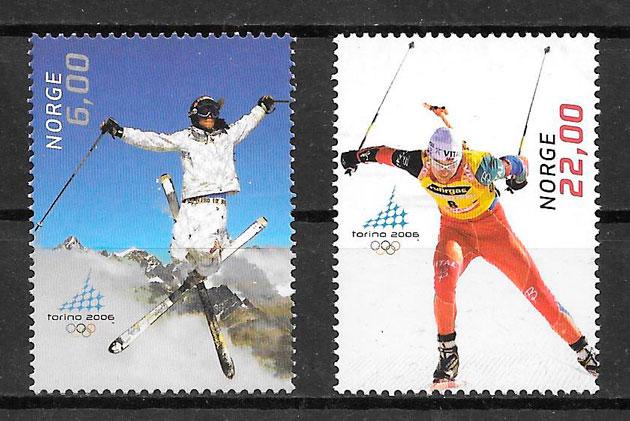 filatelia colección deporte Noruega 2005