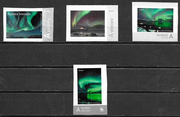 sellos filatelia paisajes Noruega 2016