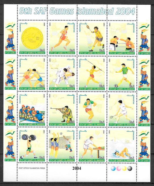 colección sellos deporte Pakistán 2004