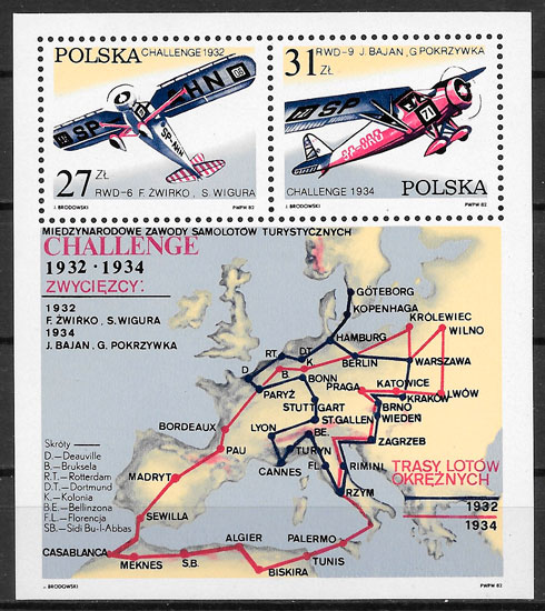 filatelia colección transporte Polonia 1982