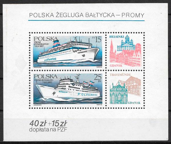 filatelia colección transporte Polonia 1986