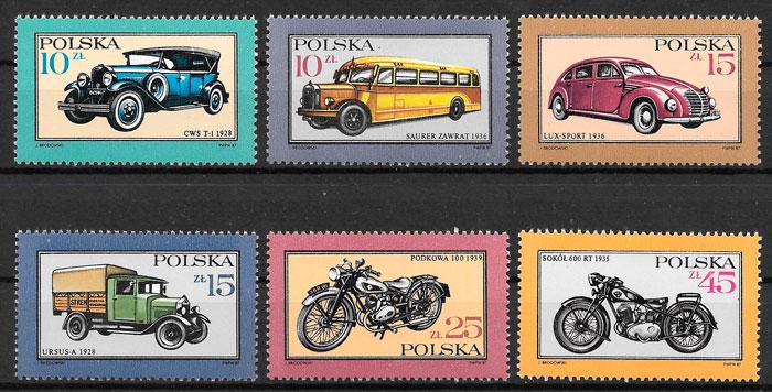 colección sellos transporte Polonia 1987