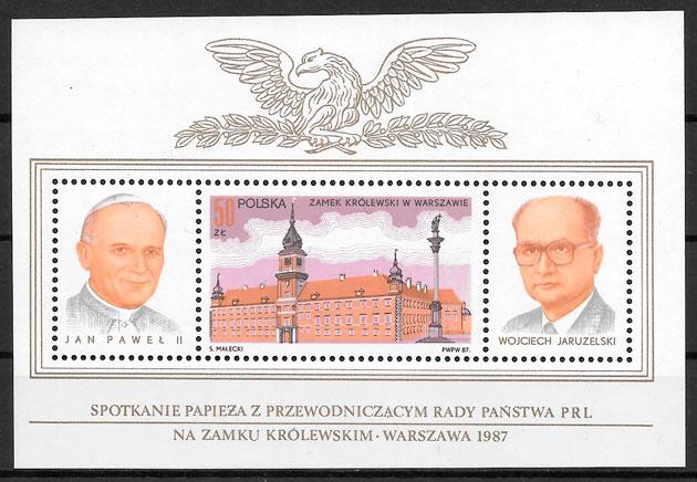 colección sellos personalidades Polonia 1987