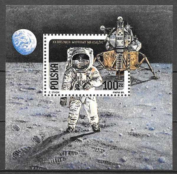sellos transporte espacial Polonia 1989