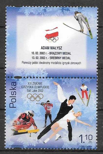Filatelia olimpiadas Polonia 2002