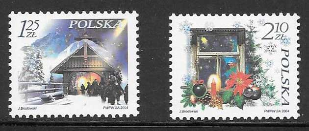Filatelia navidad Polonia 2004
