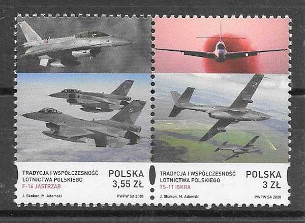 sellos colección transporte Polonia 2008