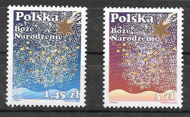 sellos navidad Polonia 2008
