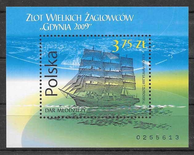 sellos colección transporte Polonia 2009