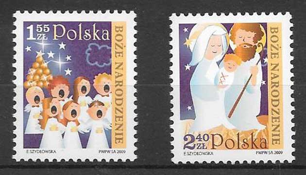 Filatelia navidad Polonia 2009