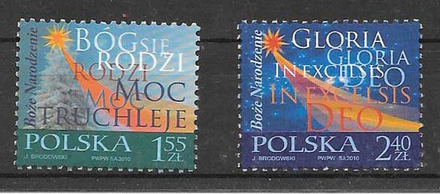 sellos navidad Polonia 2010