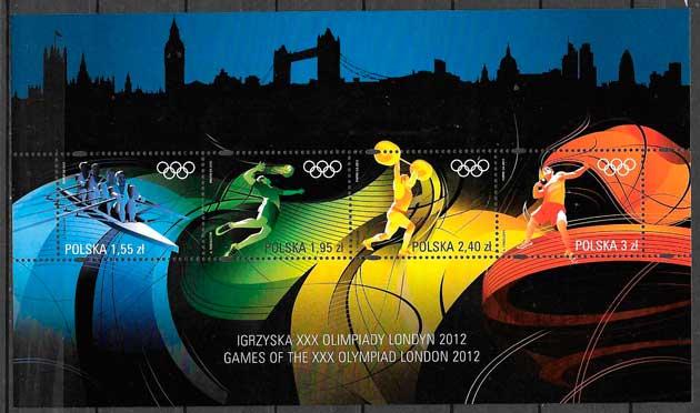 colección sellos deporte Polonia 2012