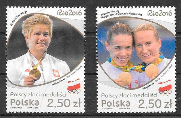 sellos colección deporte Polonia 2016