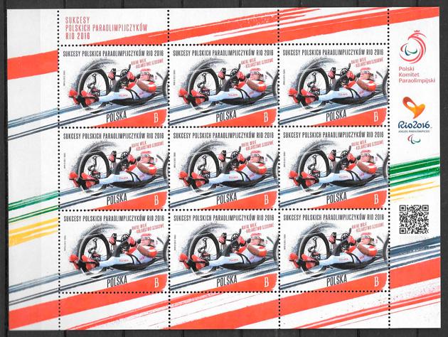 colección sellos deporte Polonia 2016