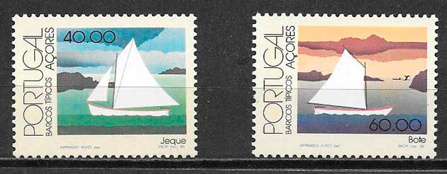 filatelia colección transporte Portugal Azores 1985