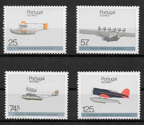 filatelia colección transporte Portugal Azores 1987