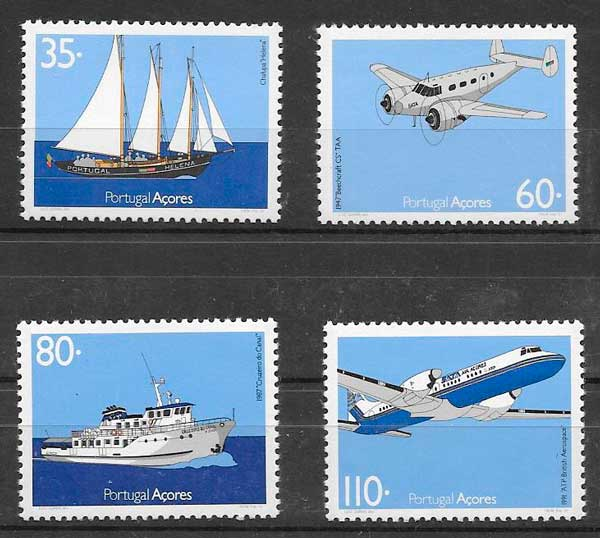filatelia colección transporte Portugal Azores 1991