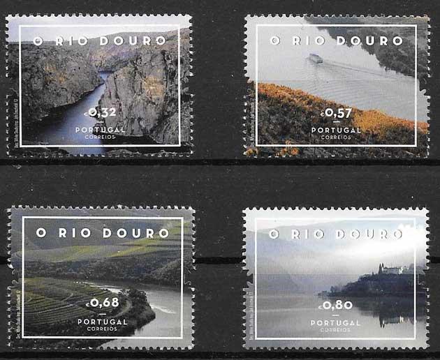 Colección sellos paisajes Rio Duero Portugal