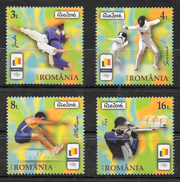 filatelia colección deporte Rumanía 2016
