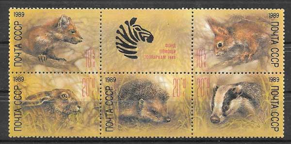 Filatelia sellos fauna salvaje de Rusia 1989