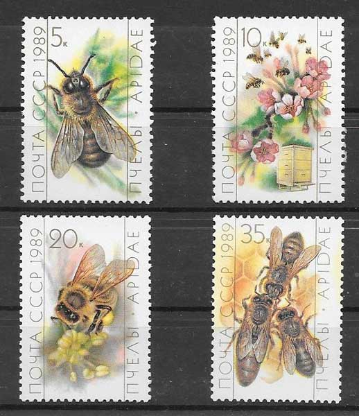Filatelia sellos fauna - abejas Rusia 1989