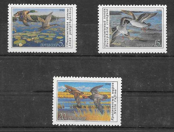 Sellos Filatelia fauna - patos salvajes Rusia 1990