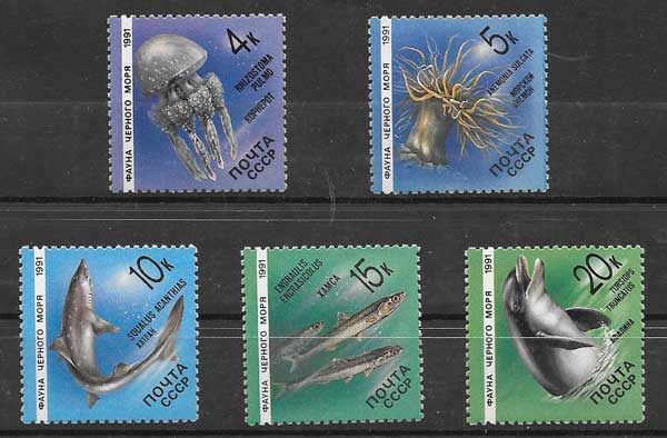 Filatelia sellos fauna del mar negro