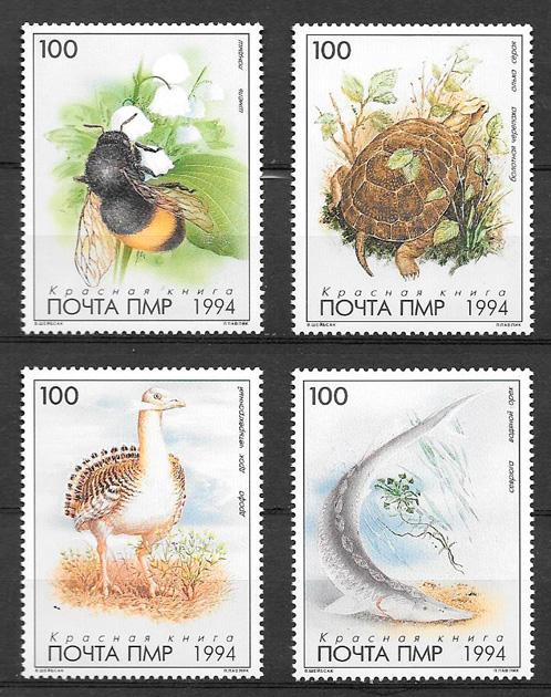 filatelia colección fauna Rusia 1994