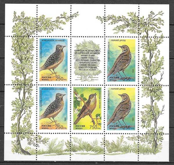 sellos colección fauna Rusia 1995