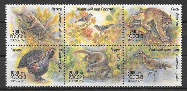 Colección sellos fauna de Rusia 1997