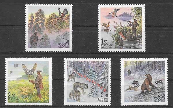 Colección sellos fauna animales de caza