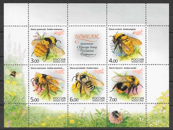 Filatelia fauna abejas Rusia 2005