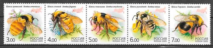 colección sellos fauna Rusia 2005