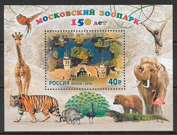 filatelia fauna Rusia 2014