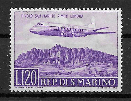 filatelia colección transporte San Marino 1959