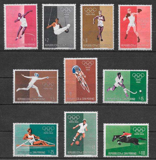filatelia deporte San Marino 1961