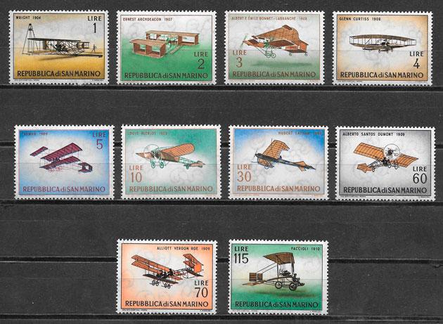 colección sellos transporte San Marino 1962