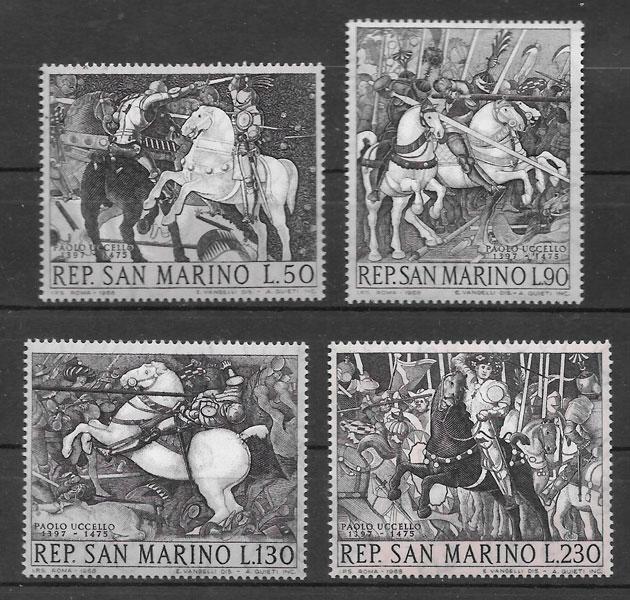 filatelia colección arte San Marino 1968